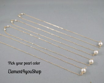 Set of 4 bridesmaid necklaces, Floating necklace, Single pearl necklace, 14k gold filled jewelry, Simple delicate necklace Bridal party gift