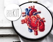 Cross stitch kit modern HALLOWEEN HEART complete craft kit with fabric yarn needle wood embroidery hoop cross stich pattern anatomy heart
