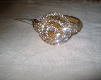 Vintage Rhinestone Hinged Bracelet, Goldtone, Costume Jewelry, Was 28.00 - 20% = 22.40