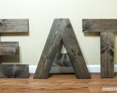 """Large EAT sign / Wood / 24"""" tall letters - Kitchen Decor - Rustic Modern Furnishings - Kitchen Wall Art - Wood Wall Letters - Rustic Style"""