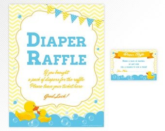 Blue Rubber duck Diaper Raffle Sign and ticket - aqua and yellow printable baby shower game - INSTANT DOWNLOAD