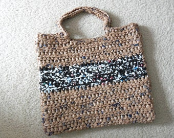 Tote made from recycled plastic bags (plarn). Brown with black/white stripe....Free shipping!
