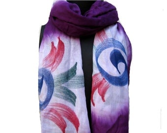 SALE! Was 14 USD NOW.............Hand painted  scarf/ multicolored scarf/ floral scarf/  scarf / purple scarf/ gift scarf/  gift ideas.