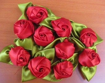 Rose buds/ red flowers/ fabric flowers/ decorative flowers/ red roses.10 pieces.