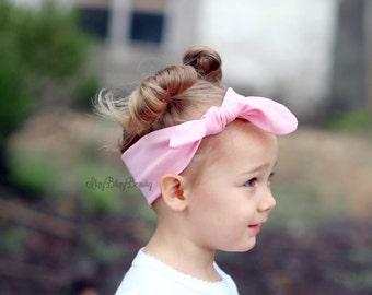 Girls light pink tie back fabric headband baby girl bow