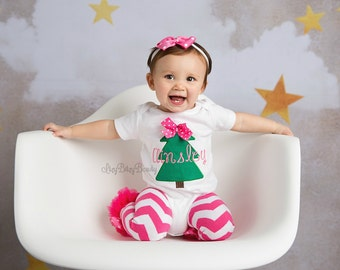 Girls pink and green Christmas tree outfit set leg warmers shirt embroidered personalized custom name