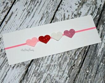 Pink red white hearts headband Valentines day baby girls photo prop