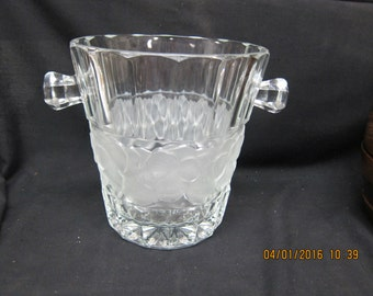 Large Heavy Etched Glass Ice/Wine Bucket