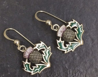 Scottish Thistle Enamel Earrings