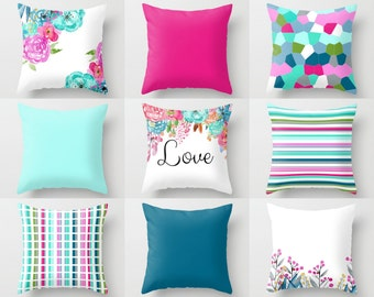 "Throw Pillow Covers Watercolor Floral Pillow Covers Mix and Match Geometric Designs 16"" 18"" 20"" 24"" Lumbar 12""x20"" Decorative Pillows"