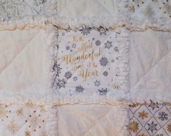 Sparkly gold, silver and white metallic holiday rag quilt throw