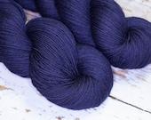 Hand Dyed KM Fingering Sock Yarn Superwash Merino Wool Nylon in Deep Navy Blue