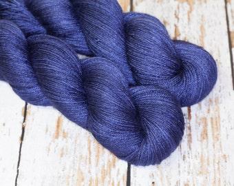 Hand Dyed Silk BFL Fingering Yarn in Navy Blue