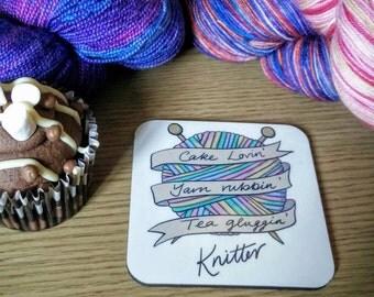 Rockamolly coaster: cake lovin', yarn rubbin', tea glugging knitter!