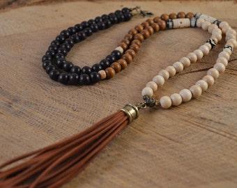 Tassel Necklace, Bohemian Jewelry, Boho Necklace, Leather Tassel, Wood Bead Necklace, Long Beaded Necklace, Leather Tassel Necklace