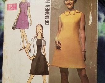 Uncut Vintage Simplicity 8485 from 1969; Misses Dress