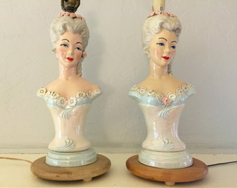 Pair of Vintage Hand Painted Hand Made Lamps