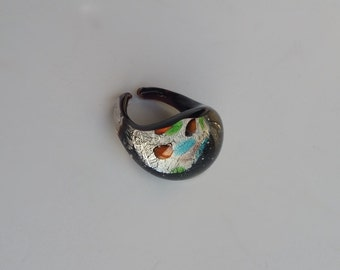 Vintage Dichroic Glass Ring, Glass Statement Ring