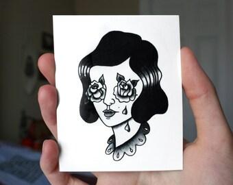 Rosy Eyed Temporary Tattoo
