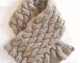 Beige Alpaca Scarf, hand knit, soft alpaca muffler, baby alpaca scarf, heavily cabled, very warm scarf, beige alpaca muffler, great gift