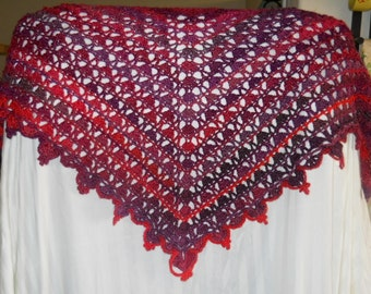 Cupid's Bleeding Heart Shawl Wrap Hand Crochet (Pinks, Purple, Violet)