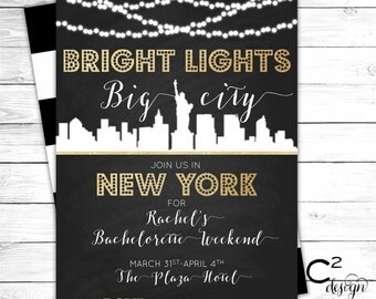 Bright Lights Bachelorette Invitation