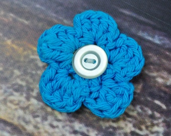 Flower Hair Clip - Accessory - Blue and White