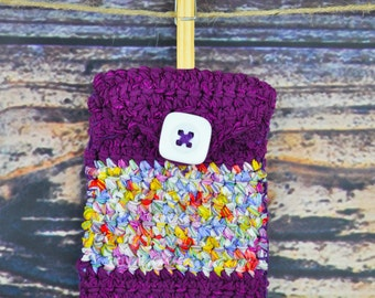 Phone Case- Fuchsia- Rainbow- Crochet
