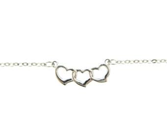 Silver Triple Heart Anklet