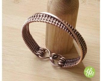 Simple wire copper cuff, woven copper bangle, wire wrapped bracelet bangle, copper wire bracelet, simple woven bracelet, copper wire jewelry