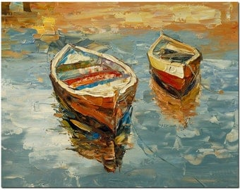Row Boat - Signed Hand Painted Palette Knife Abstract Oil Painting On Canvas