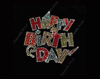 "Rhinestone Transfer  "" Colorful Happy Birthday "" Hotfix , Iron On"