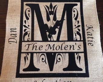 Family monogramed burlap garden flag--includes last name initial/last name/family names