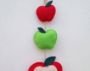Teachers gift, teachers apple, felt apple, apple garland, thank you gift