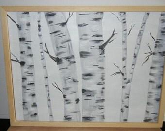 Birch painting, aspen painting, tree painting,birch art, aspen art, hand painted birch tree, hand painted aspen tree, framed birch