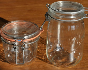 Set of 2 Vintage Le Parfait Made in France Wire Bail Clear Glass Round Pint and Quart Canning Jars with Lids