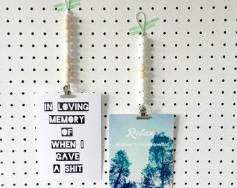 Wooden beads card hanger
