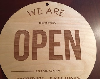 Laser Engraved Custom Open Business Sign