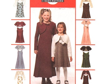 McCalls Sewing Pattern 2422 Girl's Dress in two lengths, lined Bolero Jacket  Size:  CF  4-5-6  Uncut