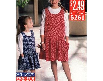 Butterick Sewing Pattern 6261 Girls' Top, Jumper  Size:  A  2-6  Uncut
