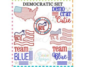 Democrat Set Digital Machine Embroidery Applique Designs, democrat applique, democrat embroidery, democratic party embroidery, democrat
