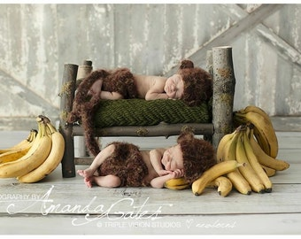Crochet Monkey Hat Fuzzy Monkey Hat Newborn Baby monkey hat and Tail Diaper Cover Set Curious George Sock Monkey Hat