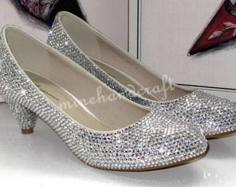 Low Heel Women Shoes Kitten Heels Silver Clean Crystal Closed Toe Heels  Pumps Crystal Slippers Peep