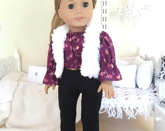 18 inch doll three piece outfit | skinny jeans, peasant blouse & fur vest