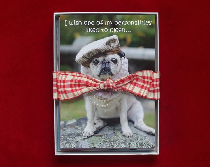 Greeting Card Set of 10 - Funny Pug Cards - Cards for Friends by Pugs and Kisses
