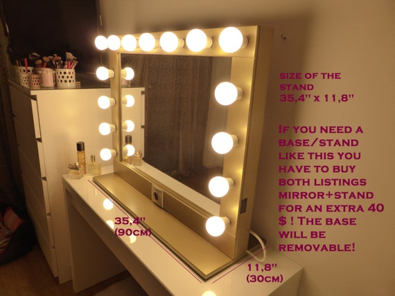 standing lighted mirror. hollywood lighted vanity mirror-large makeup mirror with lights-wall hanging/free standing-perfect for ikea malm -bulbs not included standing m