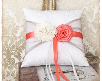 Wedding Ring Bearer Pillow, Ring Pillow, Ring Bearer Pillow, Gray and Coral Wedding Pillow, Wedding Ring Pillow