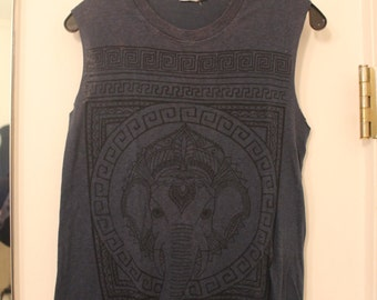 Sleeveless Navy Blue Elephant Muscle T-Shirt Size Small or X-Small