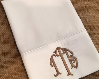 Set of monogrammed pillow cases / two pillowcases with monogram / personalized pillows / wedding gift / wedding shower / king or standard
