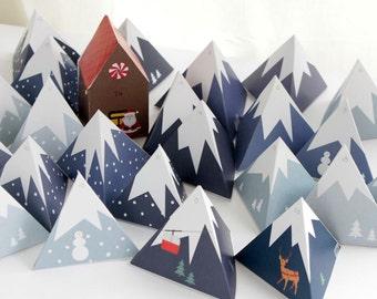Adventskalender zum Drucken - Berglandschaft mit Lebkuchenhaus - A4